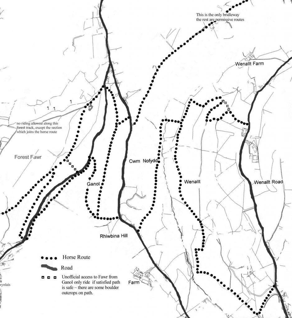 Wenallt to Ganol map