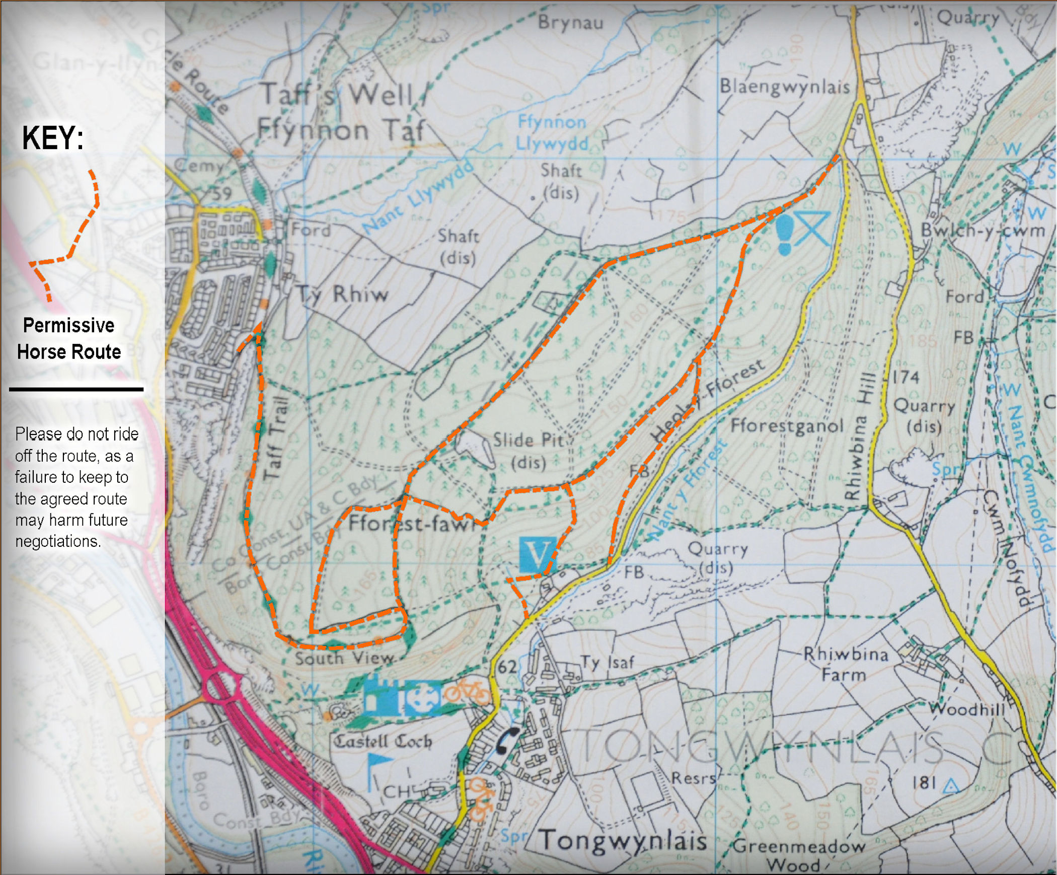 Fforest Fawr map with permissive Horse Routes. Please do not ride off these routes.